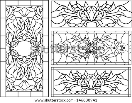floral ornament of tulips / vector illustration in stained glass window - stock vector