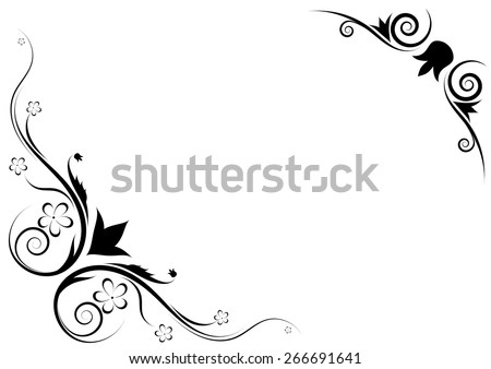 Floral ornament on a white background. Made as a frame. vector - stock vector