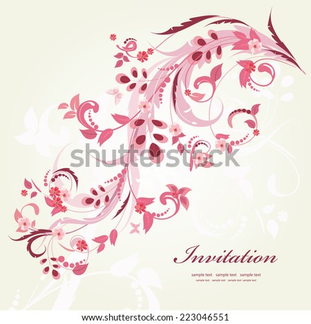 floral ornament with butterflies for your design - stock vector