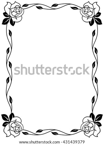 Floral ornamental frame with roses, black and white vector illustration - stock vector