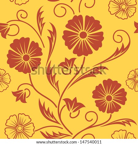 Floral ornate seamless patter background. Vector endless floral pattern can be used for web design, wallpaper, printing on the surface paper or cloth etc. - stock vector