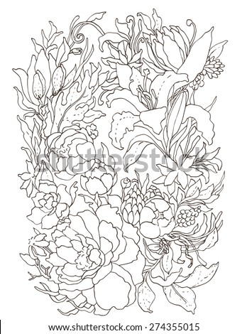 Floral ornate wreath with peonies, lilies and foliage. Vector illustration.
