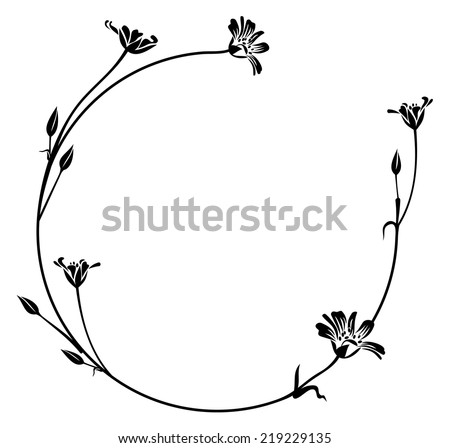 floral outline round frame - stock vector