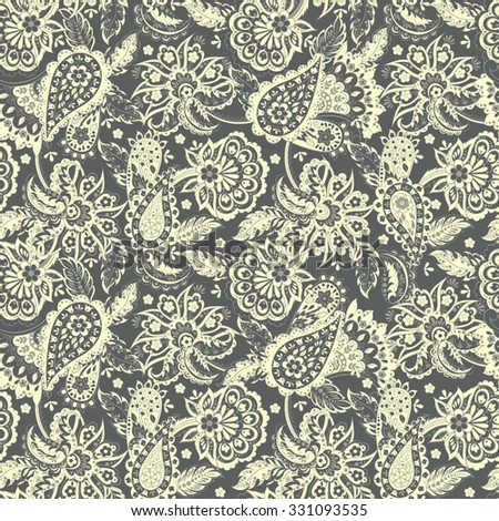 Floral Paisley Pattern. Seamless Asian Textile Background - stock vector