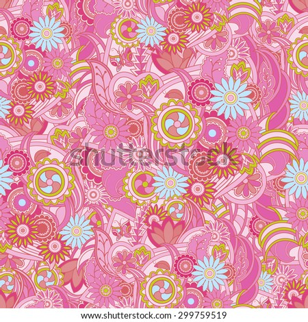 Floral pastel pink background. Seamless texture with flowers and greenery. Butterfly, ladybug, leaves in pink and red colors. The texture of fabric, covers, wallpapers and banners. Flowers in vector