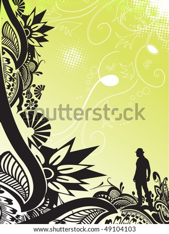 Floral pattern, abstract banner design element for your project, vector illustration - stock vector