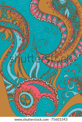 Floral pattern abstract flowers, paisley decoration
