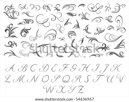Floral pattern and initials - stock vector