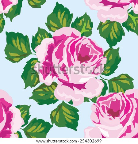 Floral pattern backgound. Elegance wallpaper with of pink roses. - stock vector