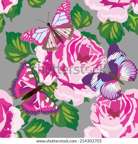 Floral pattern backgound. Elegance wallpaper with of pink roses and butterflies. - stock vector