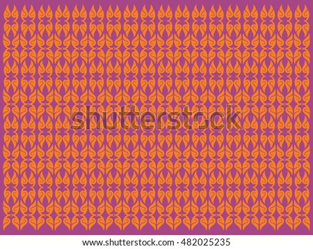 floral pattern background texture wallpaper backdrop textile image isolated vector illustration / Southeast Asia Art style design