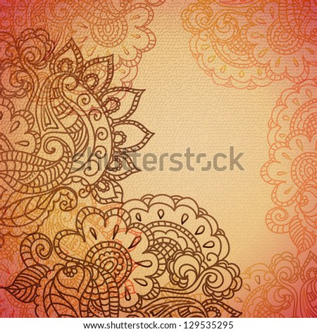 Floral pattern background with indian ornament - stock vector