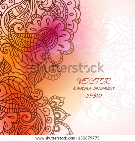 Floral pattern background with indian ornament. Elegant Indian ornamentation on a wait background. Stylish design. Can be used as a greeting card or wedding invitation - stock vector