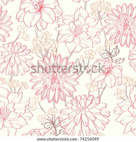 Floral pattern. Could be used as seamless wallpaper, wrapping paper, background, etc - stock vector