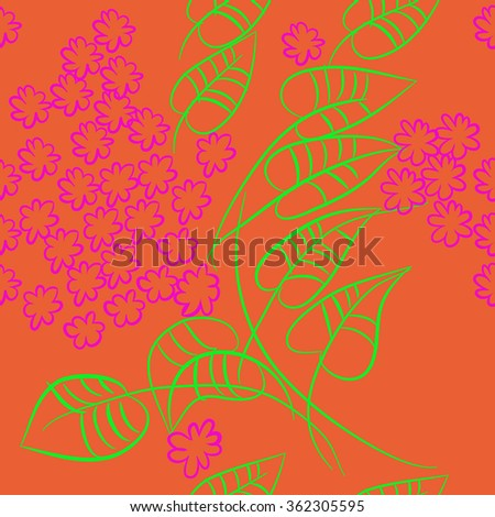 Floral pattern, doodles, branches, leaves,flowers, seamless . Hand drawn.