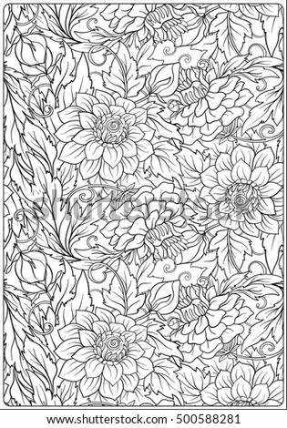 Floral Pattern Flower Background With Hand Drawn Flowers Anti Stress