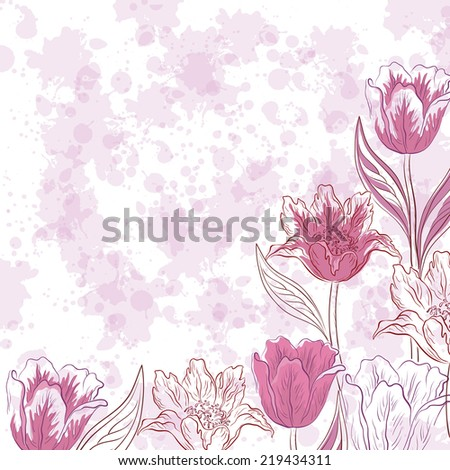 Floral pattern, flowers tulips contours and silhouettes on abstract background with blots. Eps10, contains transparencies. Vector - stock vector