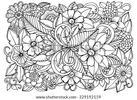 Floral pattern for coloring book. Doodle flowers in black and white - stock vector