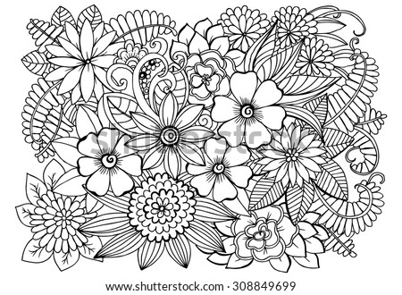 Floral pattern for coloring book. Vector doodle flowers in black and white - stock vector