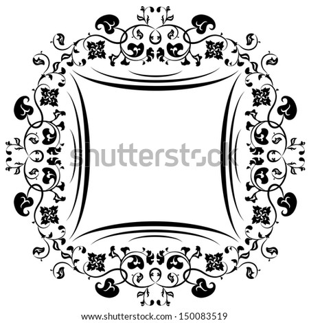Floral pattern frame. Black and white - stock vector