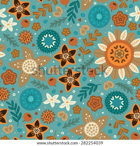 Floral pattern in Scandinavian style. Orange, brown and blue flowers. Vector illustration - stock vector