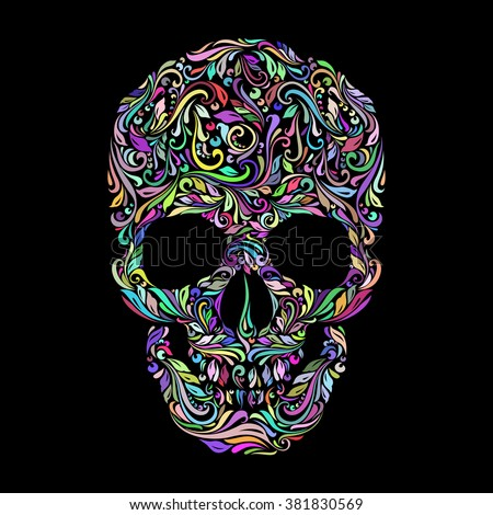 Floral pattern in the shape of a skull on a black