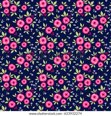 Floral pattern pretty flowers on dark stock vector 623932274 floral pattern pretty flowers on dark blue background printing with small pink roses flowers mightylinksfo