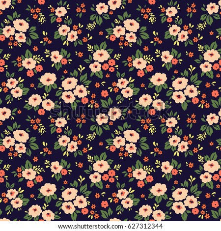 floral pattern pretty flowers on dark stock vector