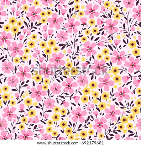 Floral pattern pretty flowers on dark stock vector 692179681 floral pattern pretty flowers on dark white background printing with small pink and yellow mightylinksfo