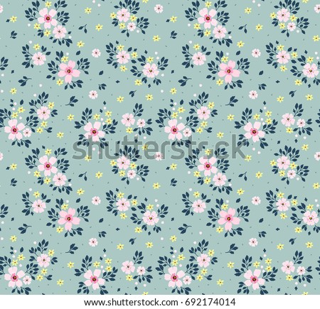 Floral pattern pretty flowers on light stock vector 692174014 floral pattern pretty flowers on light blue background printing with small pink flowers mightylinksfo