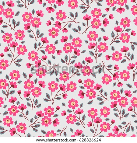 Floral pattern pretty flowers on light stock vector 628826624 floral pattern pretty flowers on light gray background printing with small scale pink mightylinksfo