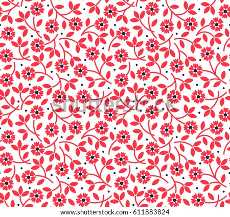 Floral Pattern Pretty Flowers On White Background Printing With Small Red Ditsy