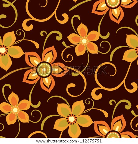 Floral pattern, seamless background with decorative flowers - stock vector