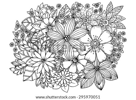Floral pattern. Vector doodle flowers in black and white - stock vector