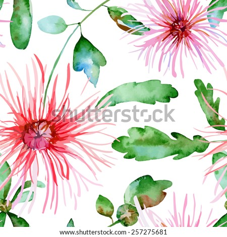 Floral pattern. Vector seamless background. Pink  chrysanthemum - stock vector