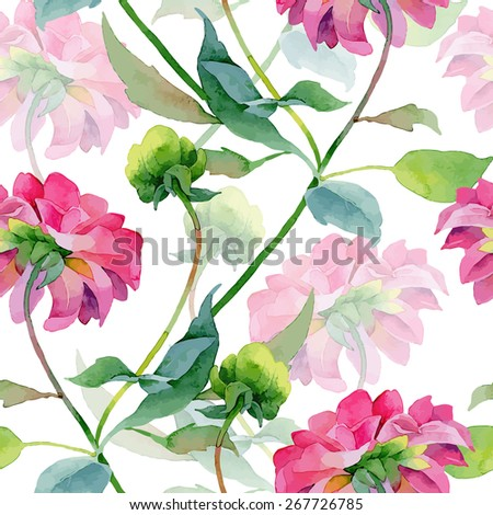 Floral pattern. Vector seamless background. Pink dahlias - stock vector