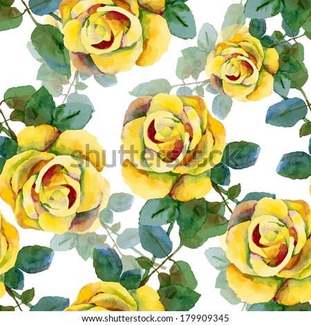 Floral pattern. Vector seamless background. Yellow roses - stock vector