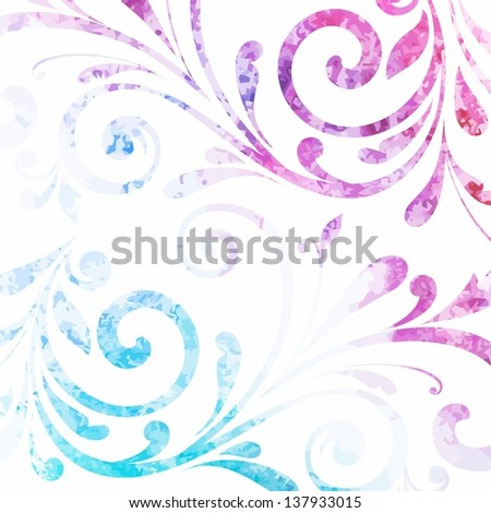 Floral pattern. Vector watercolor background. - stock vector