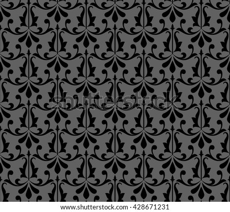 Floral pattern. Wallpaper baroque, damask. Seamless vector background. Black ornament.