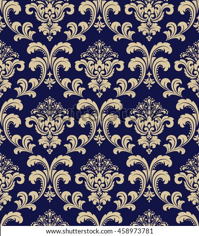 Floral pattern. Wallpaper baroque, damask. Seamless vector background. Gold and black blue ornament. Graphic modern pattern. - stock vector