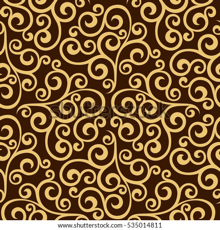 Wallpaper Baroque Damask Seamless Vector Background Gold And Black Brown