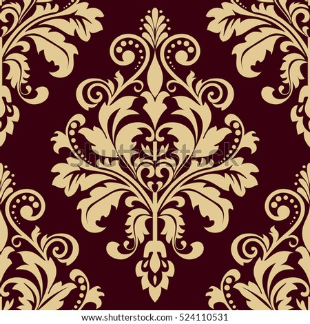 floral pattern wallpaper baroque damask seamless vector background gold and black red