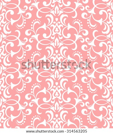 Floral pattern. Wallpaper baroque, damask. Seamless vector background. Pink and white ornament - stock vector