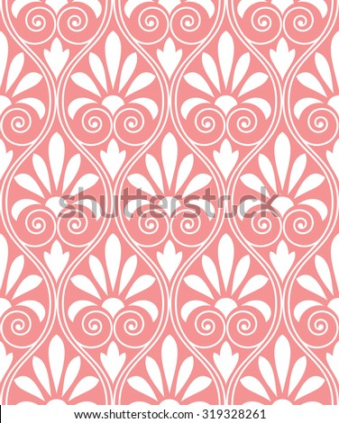 Floral pattern. Wallpaper baroque, damask. Seamless vector background. Pink and white ornament. - stock vector