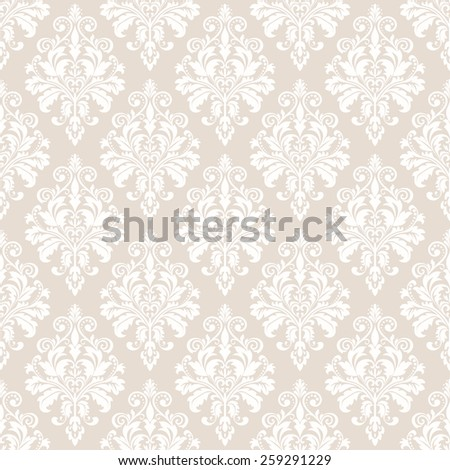 Floral pattern. Wallpaper baroque, damask. Seamless vector background. White and beige ornament. - stock vector