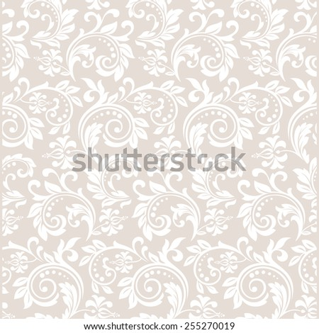 Floral pattern. Wallpaper baroque, damask. Seamless vector background. White and beige pattern. - stock vector
