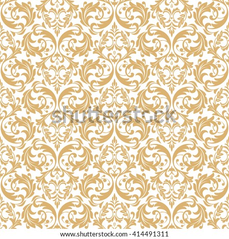 Floral pattern. Wallpaper baroque, damask. Seamless vector background. White and gold ornament. - stock vector