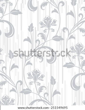 Floral pattern. Wallpaper baroque, damask. Seamless vector gray and  white background. - stock vector