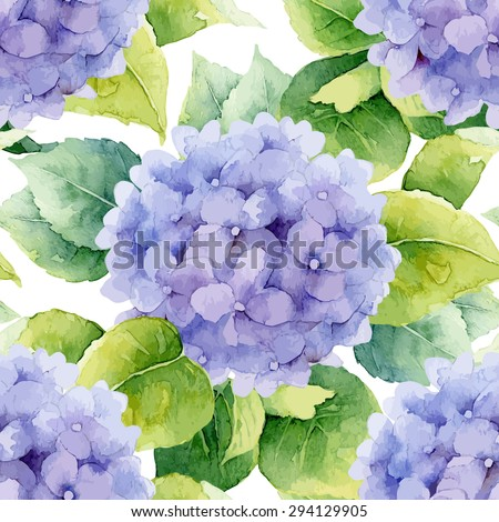 Floral pattern. Watercolor seamless background. Violet hydrangea. Vector illustration - stock vector