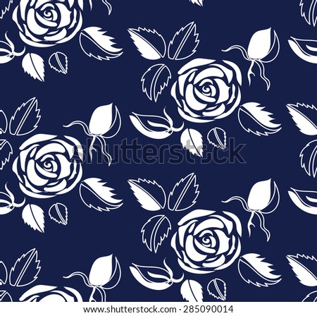 Floral Pattern With Abstract White Roses Heads Two Colors Ornament Seamless Texture For Fashion